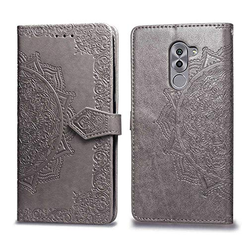 Bear Village Hülle für Huawei Honor 6X, PU Lederhülle Handyhülle für Huawei Honor 6X, Brieftasche Kratzfestes Magnet Handytasche mit Kartenfach, Grau