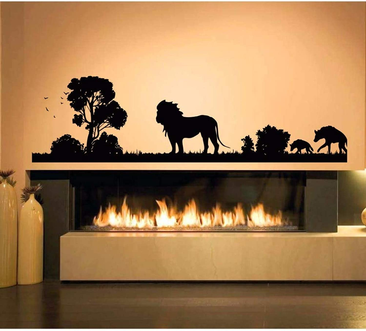 DalaB YOYOYU Wall Sticker Africa Savanna Animal Room Windows Door Decoration African Zoo Nursery PVC Mural Poster Sticker J990  (color  Other color, Size  42X153CM)