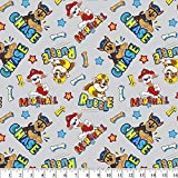 Paw Patrol Guys Gray Cotton Fabric by The Yard