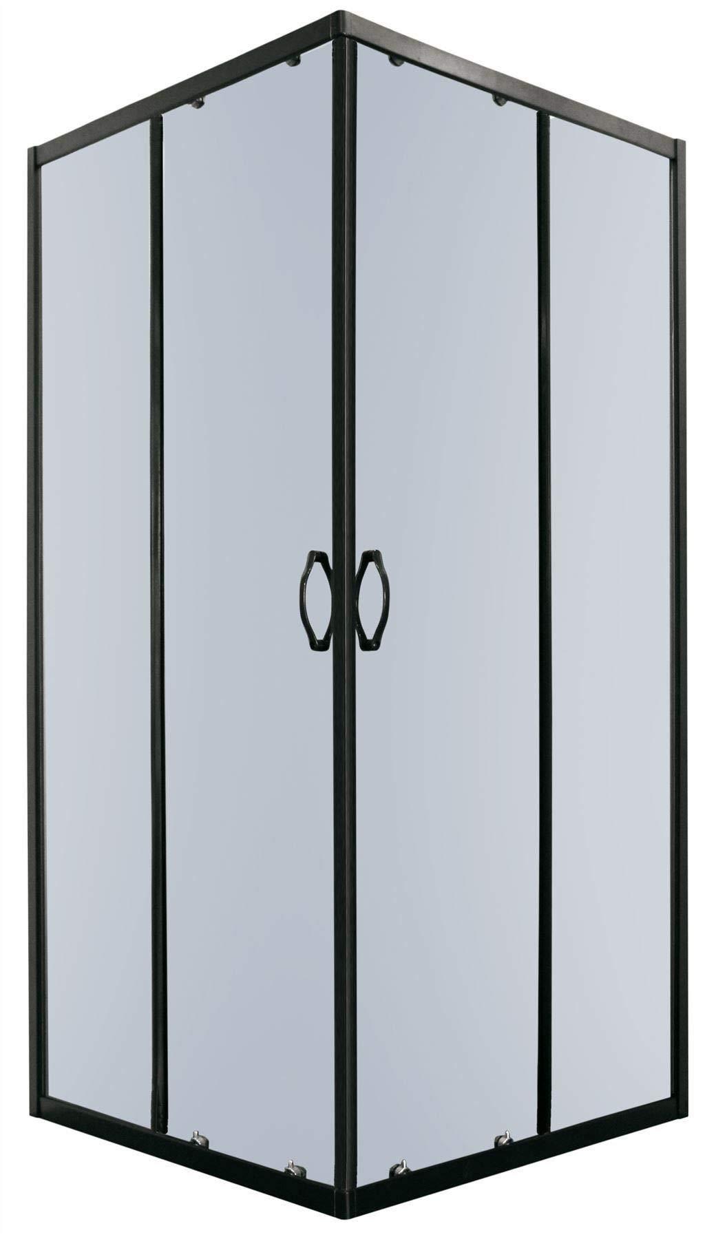 90x90cm Cuadrado Esquina Cabina Ducha Baño Negro Perfiles Aluminio: Amazon.es: Hogar