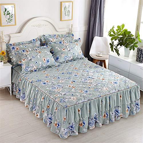 CQZM Verdicken Mit Rüschen Bettvolant Babybett rutschfest Gesteppter Bettrock Tagesdecke Single Double Bed Skirt Queen Schlafzimmer Wrap Around Style Bett RöckeC-150x200cm(59x79inch)