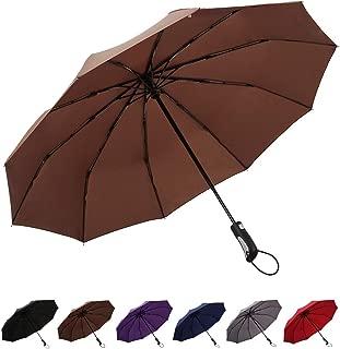 NEW Concord Brown Mallard Duck Handcrafted Handle Self Opening Black Umbrella
