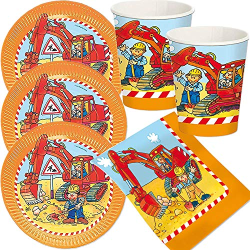 53-TLG. Party-Set * Bagger & Baustelle * mit 16 Teller, 16 Becher, 20 Servietten + Deko für Kindergeburtstag | Mottoparty Geburtstag Baumeister Bob