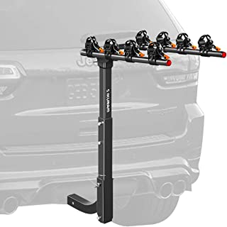"IKURAM 4 Bike Rack Bicycle Carrier Racks Hitch Mount Double Foldable Rack for Cars, Trucks, SUV's and minivans with a 2"" Hitch Receiver"