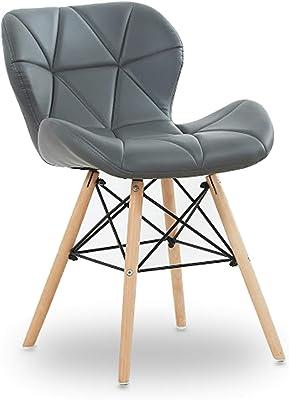 P&N Homewares® Cecilia Eiffel Millmead Inspired Chair Plastic Retro White Black Grey Red Dining Chair Office Chair Lounge (GREY)