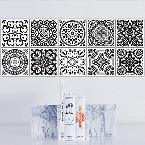 MINRAN DECOR BJ Art de tuiles Mural - Adhésif carrelage   Sticker Autocollant Carrelage - Mosaïque carrelage Mural Salle de Bain et Cuisine   - 20x20 cm - 10 pièces TS018