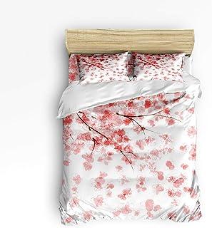 LnimioAOX Conjuntos de Ropa de Cama Cherry Blossom Efecto Acuarela Juego de Funda nórdica de 3 Piezas Edredón Colcha para niños/niños/Adolescentes/Adultos King