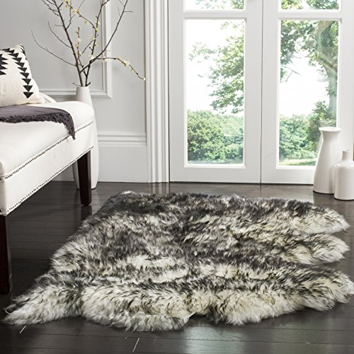 Safavieh Sheep Skin Collection SHS121G Handmade Rustic Glam Genuine Pelt 3.4-inch Extra Thick Area Rug, 3′ x 5′, Ivory / Dark Charcoal