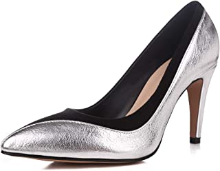 Stiletto High Heel Shoes,Sexy Closed Pointed Toe Heels Slip-on Bridal Party Evening Dress Pumps for Women Valentine Shoes