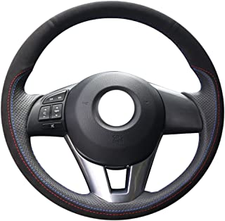 XUJI Hand Sewing Black Suede Black Genuine Leather Car Steering Wheel Cover for 2013 2014 2015 2016 Mazda CX-5/2014-2016 Mazda 6/2014-2016 Mazda 3/2016 Mazda CX-3/2016 Scion iA