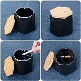 ONEDERZ Aschenbecher für Draußen mit Deckel, Keramik Windaschenbecher Geruchsdicht Sturmaschenbecher für Home Office Dekoration (schwarz) - 4