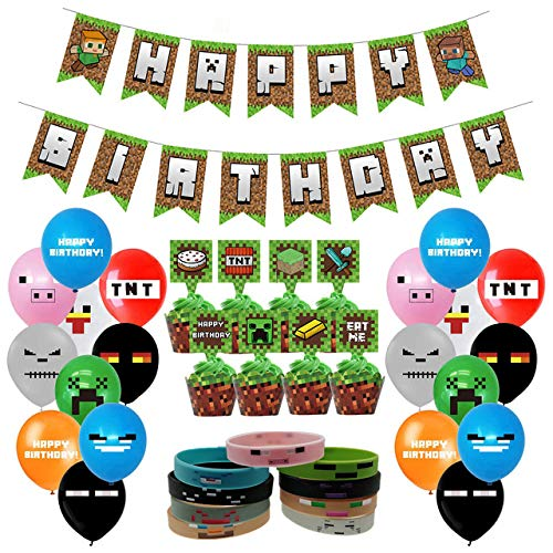 Pixel Style Gamer Party Supplies, Miner Theme Birthday Party Favors and Decors Set Includes 1 Banner, 20 Balloons, 24 Cupcake Toppers, 24 Wrappers, 18 Bracelets