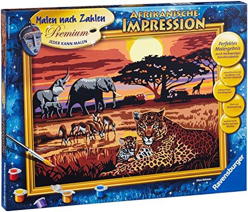 Ravensburger Malen nach Zahlen 28819 - Afrikanische Impressionen - Perfektes Malergebnis durch hochwertiges Künstlerzubehör, ohne Rahmen