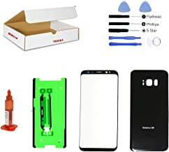 (md0410) Black Front Outer Glass Lens, Back Cover Replacement Compatible Galaxy S8 Plus G955 + Adhesive + Opening Tool (LCD & Digitizer Not Included)