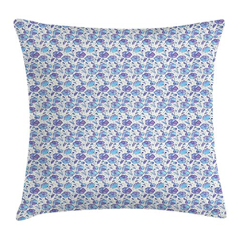 FAFANI Garden Art Throw Pillow Cushion Cover, Abstract Swirls Background with Blooming Petals and Leaves Spring Flowers, Decorative Square Accent Pillow Case, 18 X 18 inches, Violet Blue Beige