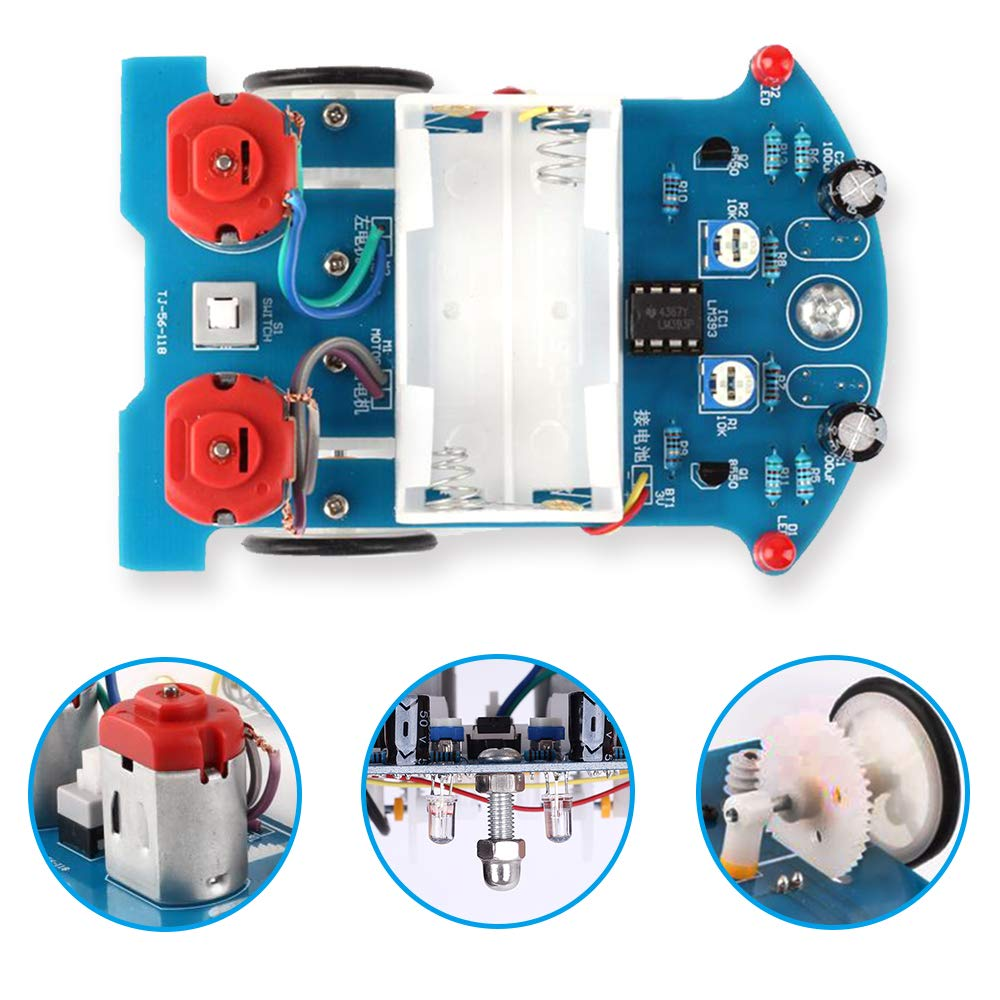 Electronic DIY Assemble Kit for Student Science STEM Learning Project Soldering Practice Kit Line Following Tracking Smart Car Stepper Motor ICStation Simple Robot