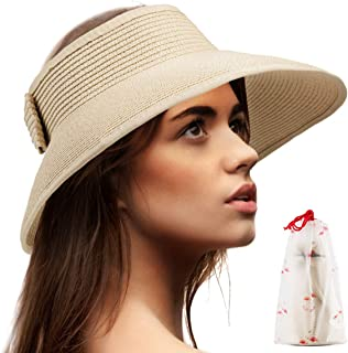 LADYBRO Foldable Sun Visors for Women - Beach Hat Wide Brim Sun Hat Roll-Up Straw Hat