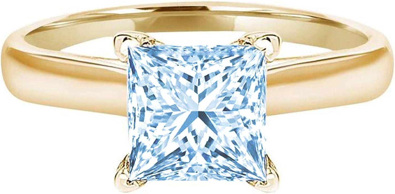 2.9ct security Brilliant Princess Cut Solitaire Sacramento Mall Aquamarine Simulated Blue