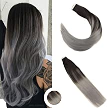 Ugeat Tape in Extensions Balayage Black To Grey Color 50g 20PCS 100% Human Hair Tape in Extensions 16 inches Tape in Hair Extensions Balayage Human Hair