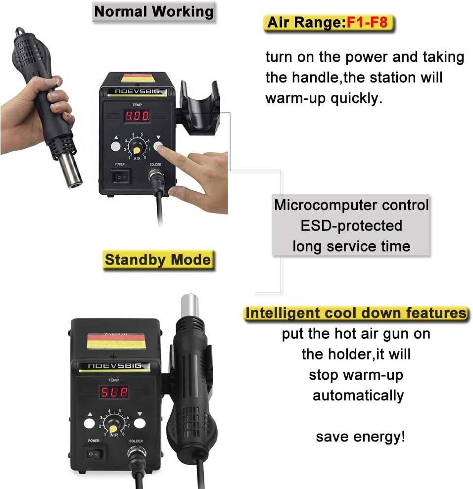 Hot Air Rework Station Kit with Digital Display SMD Desoldering Rework Station for BGA IC 700W 500/°C