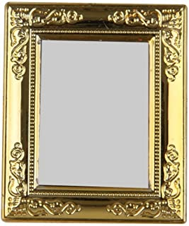 Maersi Dollhouse Miniature Mirror with Golden Frame Dolls Accessories