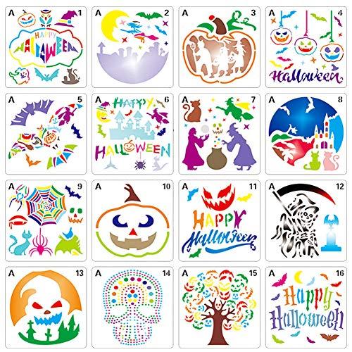 Plantillas de Pintura BESTZY 16 Piezas Plantillas de plástico para dibujo de Halloween Plantillas de Estarcido Reutilizables Decorativas de Bricolaje A