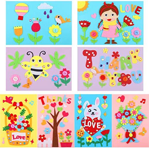 16 Piezas Kits de Fabricación de Tarjetas de Dibujos Animados Kits de Tarjetas de Felicitación Hechas a Mano con Sobres para Cumpleaños Día de Madre San Valentín