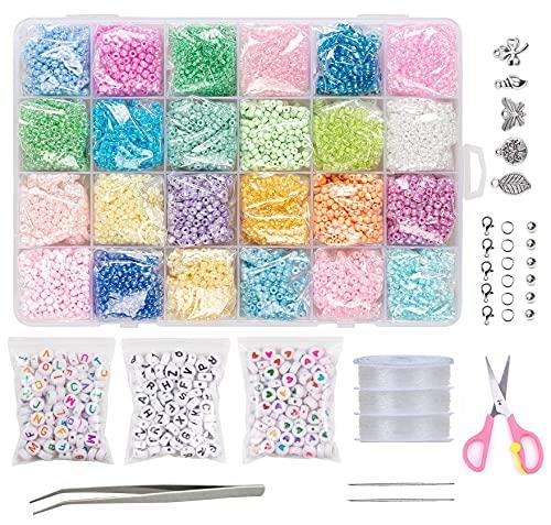 Glasperlen zum Auffädeln Pastell Farben, Rocailles Perlen 3mm 12000 Stück, YUHIAKE Perlen Set mit Buchstabenperlen und Herz Perlen, für Kinder Erwachsene Schmuck Ringe Ketten Armbänder