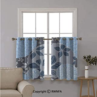Fashion Window Valances Curtain Panel Home,Tropical Blooms inside Circular Shaped Forms Swirled Petals Elegance Pattern ,Top Window Treatments Short Curtains Tier,42