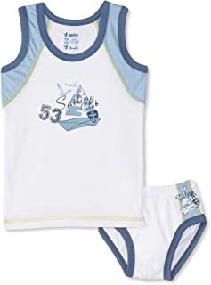 PaPillon Printed Sleeveless Undershirt with Elastic Waist Brief Cotton Underwear Set for Boys - White & Baby Blue, 2 Piece...