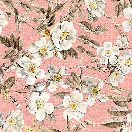 Tela por metros de loneta estampada (0,50 x 2,80 m) | Flores blanco, rosa