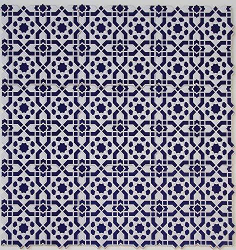 Casa Moro Orientalische Relief-Fliesen Istanbul 25x25 cm blau weiß 1 qm | Vintage Wandfliesen für schöne Küche Flur Bad & Küchenrückwand | FL7000