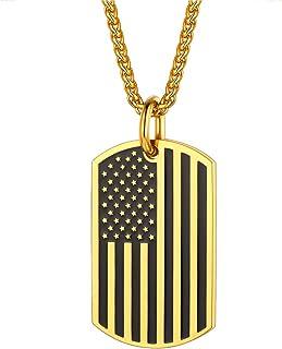 U7 مجوهرات وطنية للرجال، علامة جندي جيش ، علامة علم الولايات المتحدة قلادة مع سلسلة، قلادة سحر مطلية بالذهب أو الفولاذ الم...