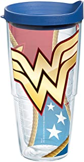 Tervis 1211925 Wonder Woman Colossal Tumbler with Wrap and Blue Lid 24oz, Clear