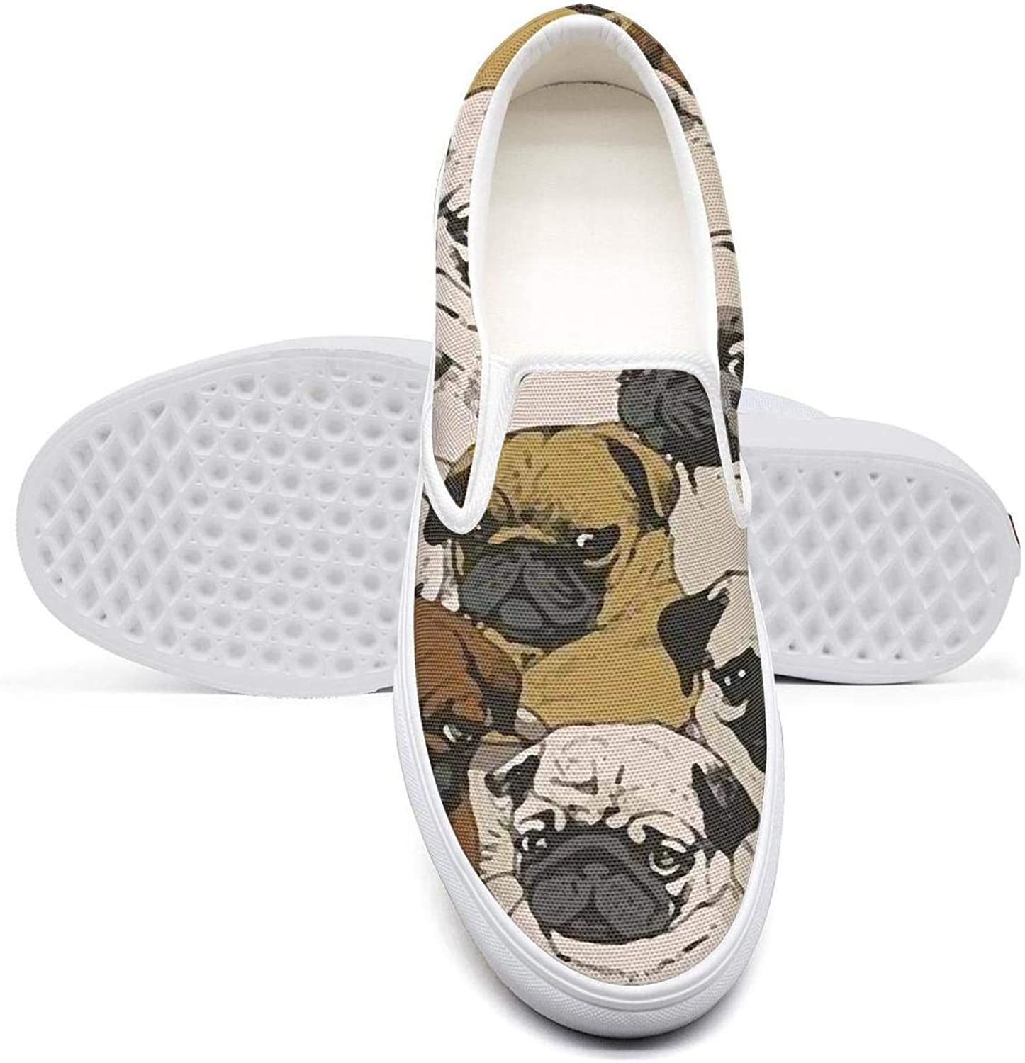 Women's Athleisure Fashion shoes Happy Pug Fest Collection Comfortable Loafers Slip on Christmas Sneakers