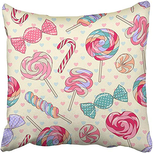 Starosa Throw Pillow Covers Cases Decorative 18x18 Inch Pink Party Yummy Colorful Sweet Lollipop Candy Cane with Hearts Yellow Red Christmas Two Sides Print Pillowcase Case Cushion Cover