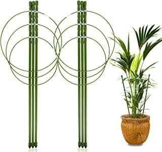 "LEOBRO 2 Pack Plant Support Cage Metal Rust Resistant Garden Plant Support Ring Plant Stake Plant Support for Tomato, Trellis, Climbing Plant, Flower, 17.7"" High, 5.48""/6.18""/6.89"" Inner Diameter"