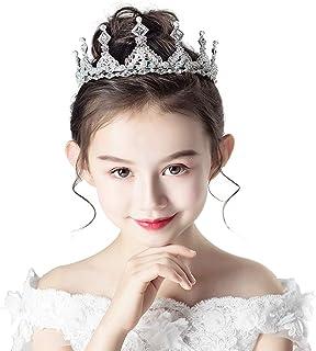 RKY Parte Superiore delle Ragazze, monili della Fascia Crystal Crown Copricapo Principessa Girl Crown Hairpin Argento dell...