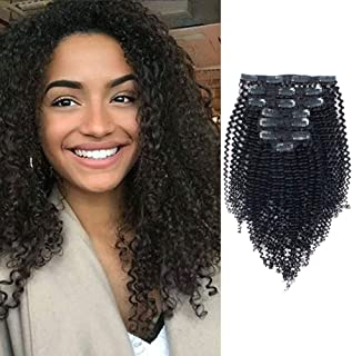 Lovrio Kinkys Curly Virgin Brazilian Clip in Human Hair Extensions Double Weft Real Remy Hair for Black Women 7 Pieces 120g with 17 Clips 16 Inch