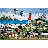 幸せな灯台パズル500/1000/1500/2000/3000ピース、木製の古典的なパズル、大人のための教育玩具、創造的な贈り物。 0224 (Color : No Partitions, Size : 1500 pieces)