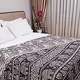 Milam London 100prozent Baumwolle Bohemian King Size Tagesdecke Bettüberwurf mit Quasten Wendedecke Boho Decke Elefant Muster 220x240cm Anthrazit