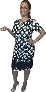 Vestido montaria fashion maya midi verde estampa geométrica