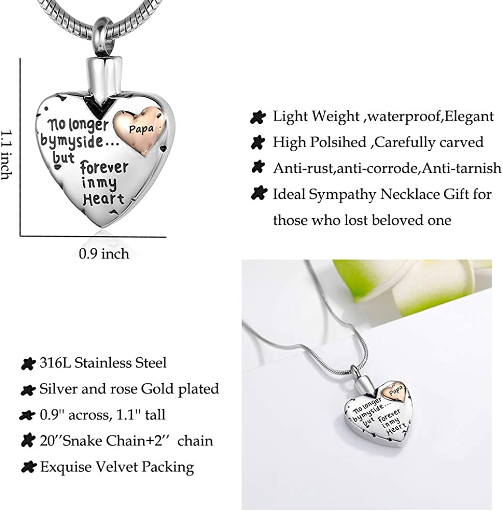 No Longer by My Side Forever in My Heart Urn Pendant Necklace for Ashes Grandma Grandpa Mom Dad Papa Nana Brother Sister Eternalmemorial Cremation Jewelry for Ashes