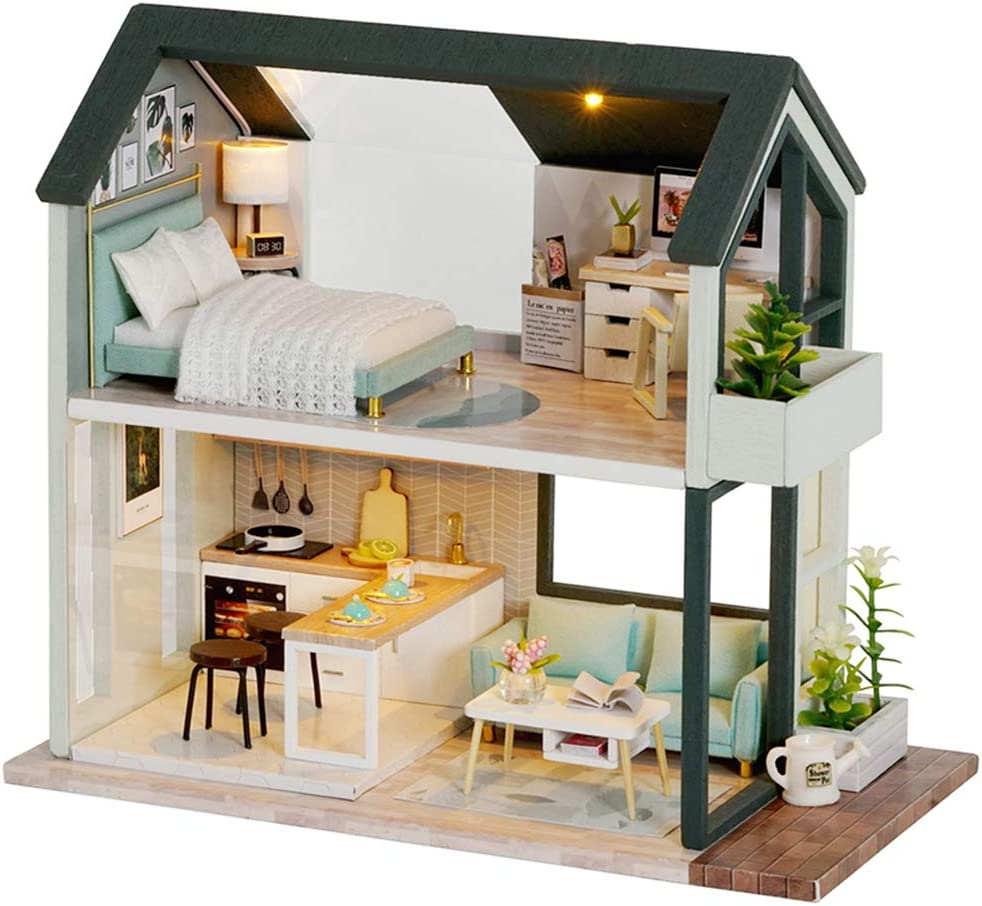 Fsolis DIY Dollhouse Miniature Kit with Furniture, 3D Wooden Miniature House with Dust Cover, Miniature Dolls House kit (QL01)
