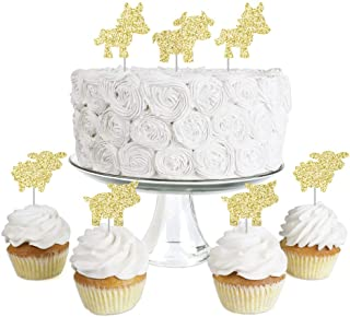 Gold Glitter Cow, Horse, Sheep and Pig - No-Mess Real Gold Glitter Dessert Cupcake Toppers - Farm Animals Barnyard Baby Shower or Birthday Party Clear Treat Picks - Set of 24