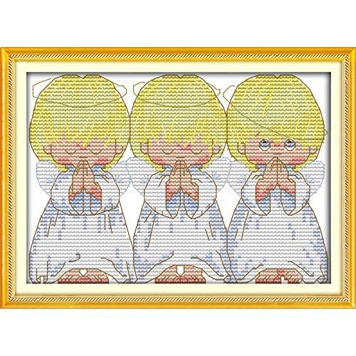GSOLOYL Muestra de Pintura Cruzada El Amor Eterno De Navidad Orar Angelitos (2) De Algodón Ecológico Chinas Kits...