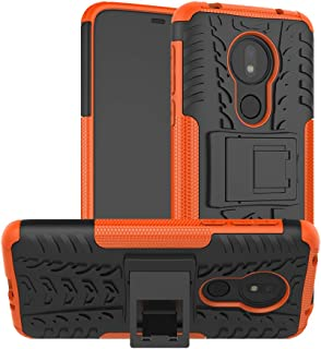 Case Motorola Moto G7 Power 360° Full Body PC 2 in 1[with Tempered Glass Screen Protector 2 Pieces] Shockproof Double Protection Phone Cover Protective Skin Case for Motorola Moto G7 Power (Orange)