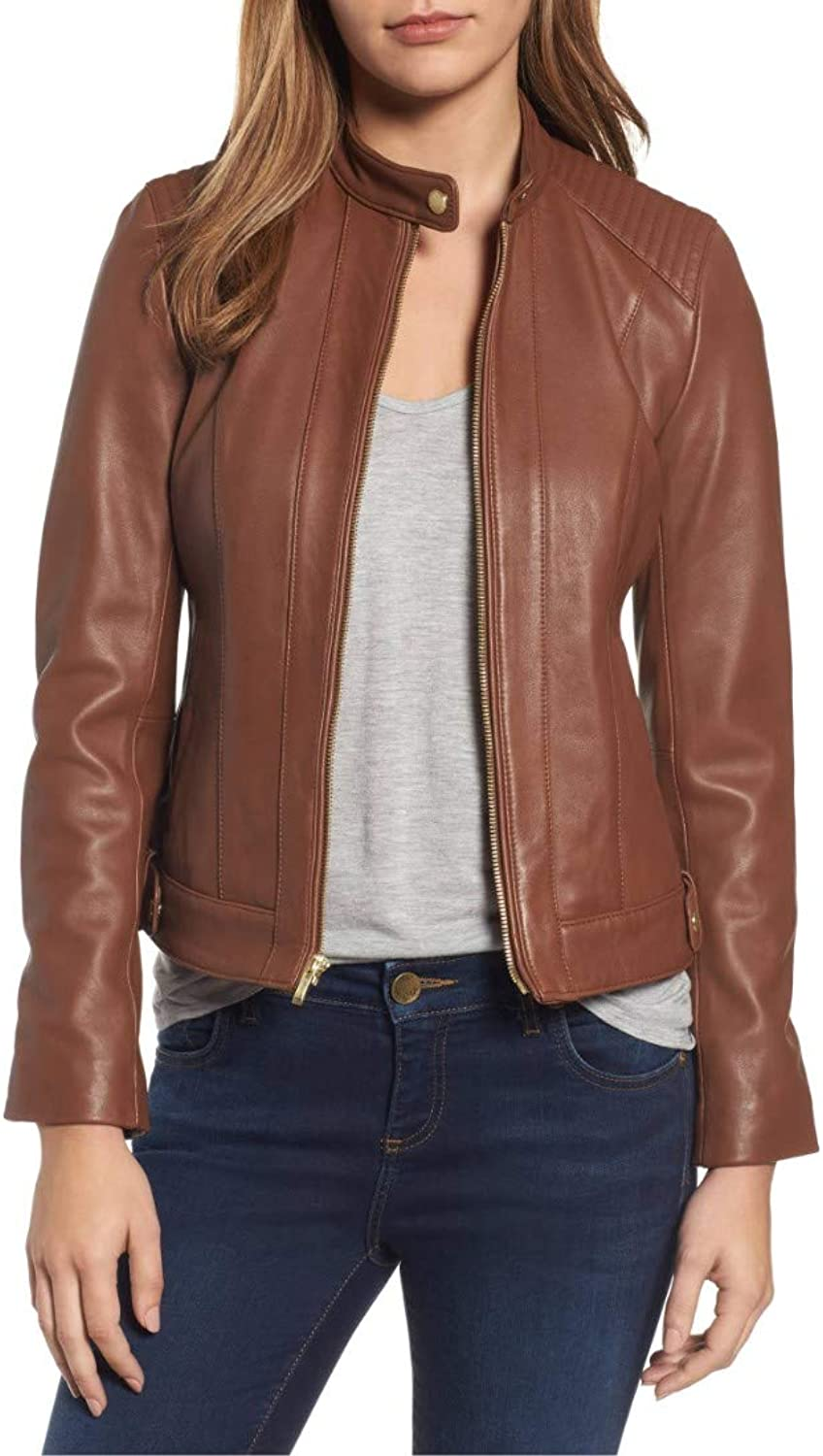 Dillo Leather Motorcycle Bomber Biker Brown Real Leather Jacket for Women