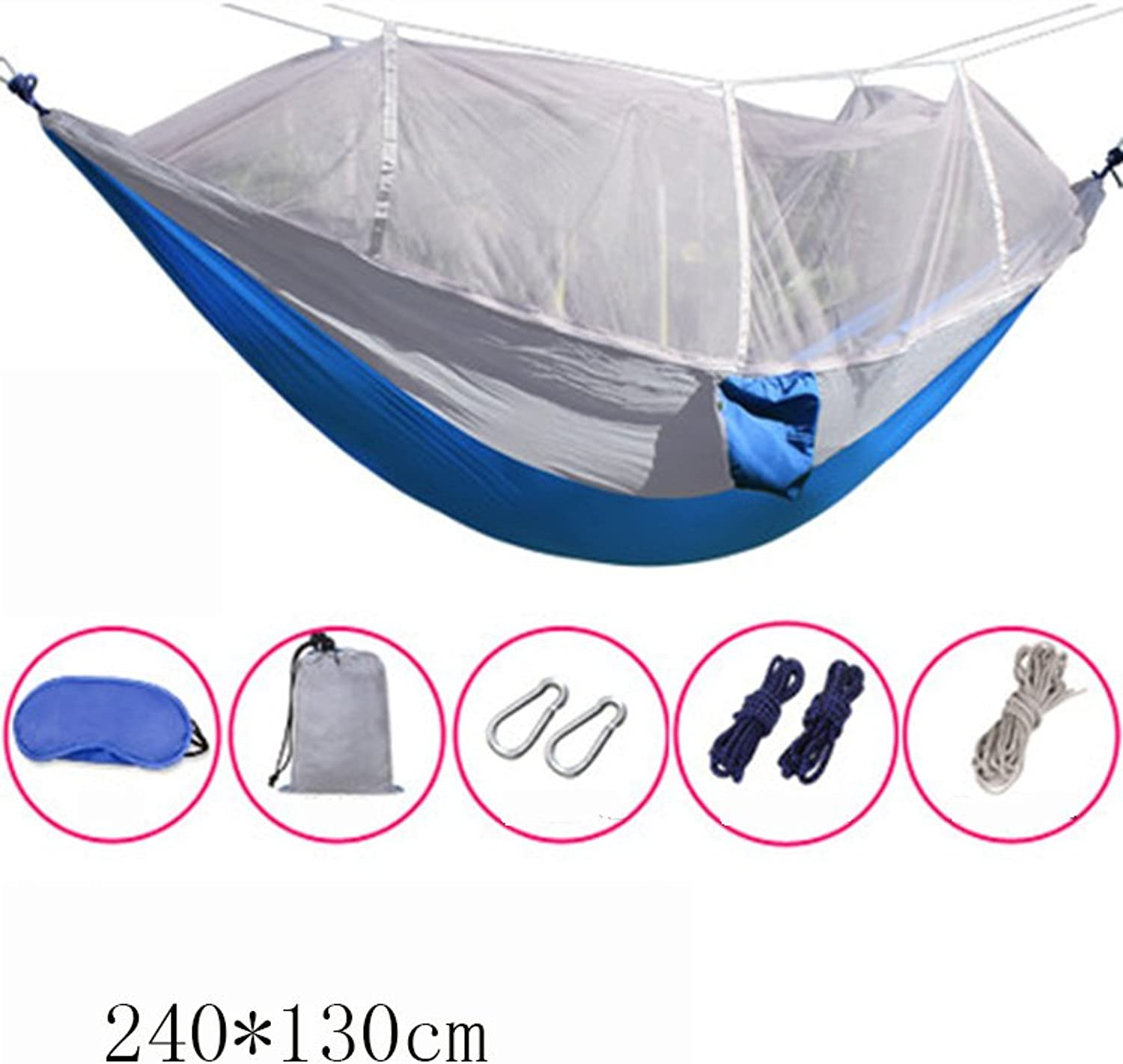 WOAINI Camping Hammock with Mosquito Net, Outdoor Hammock Travel Parachute Cloth Portable with Mosquito Net Camping Hammock Green 240X130(94.5X51.2in) (color   C)