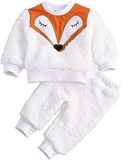 Baby and Toddler Boys Girls 2-Piece Fuzzy Pajama Set...
